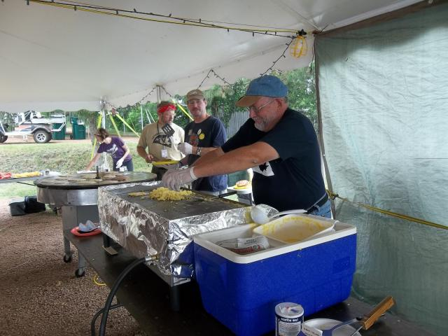 Clif, Steve and Chris work the griddles at Pancakes for Peace 2012