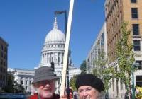 Jackston Tiffany and Mary Beth Schlagheck - Monday noon vigil - drone protes - Madison