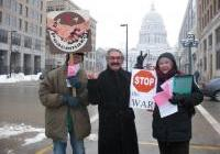 Jackson Tiffany, and Mary Beth Schlagheck join Sami Rasouli of Iraq - to say no more war.