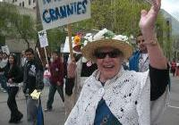 Raging Grannies support the May day March - Madison 2009