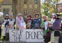 Raging Grannies join the DRONE protest in Mauston - Sept 24, 2012
