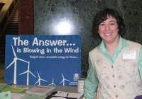 Diane Farsetta tables at the Capitol for clean, renewable energy