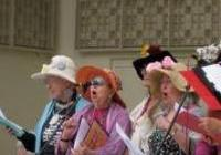 WNPJ member Phyllis Noble sings with the Tuscon Raging Grannies - at a Peace Fest