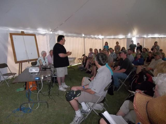 Bad River Tribal Chair Mike Wiggins speaks about mining threats at the Energy Fair 2012