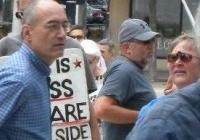 Steve Burns and Judy Miner, at a peace rally in Madison
