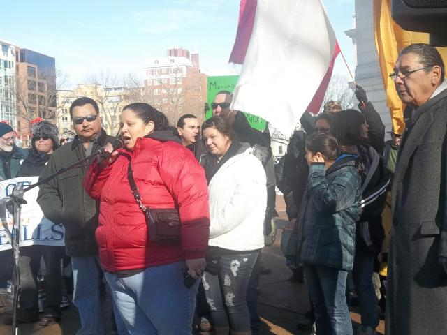 Bad River Tribal members speak at the Save Our Water - No Unsafe Mines rally at the Capitol, January 26, 2013