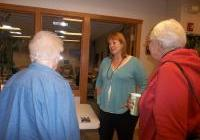 Bev Speer tabling for the WI Democracy Campaign at the WNPJ Assembly in La Crosse, October 5, 2013