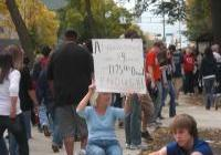 Peaceful Protest - as Obama visits Madison