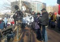 Fred Ackley and Fran Van Zile speaking at the Save Our Water - No Unsafe Mines rally at the Capitol, January 26, 2013
